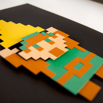 Link - Legend of Zelda - 8bit hand cut 3D paper craft