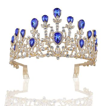 Cool Baroque Vintage Gold Rhinestone Red Blue Crystal Crown With Comb Wedding Hair Accessories Luxury Queen King Crowns Bridal TiarasAT_93_12