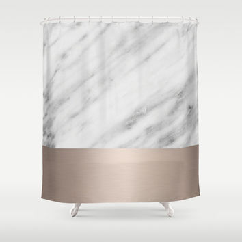 Carrara Italian Marble Holiday White Gold Edition Shower Curtain by cafelab