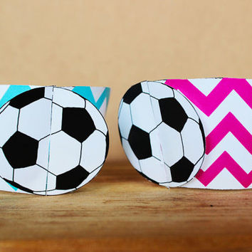 Printable 3D Soccer Ball (football) Sports Party Cupcake Wrapper Set in aqua blue and bright pink chevron patterns INSTANT DOWNLOAD