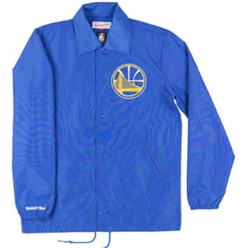 Mitchell & Ness Golden State Warriors Mens Coaches Jacket in Blue