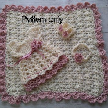 Baby dress pattern,Crochet dress pattern, crochet baby pattern, baby sandals pattern, blanket crochet pattern , Diy baby dress  baby blanket