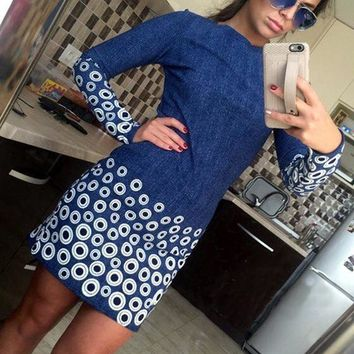 Streetstyle  Casual Blue Floral Circle Print Round Neck Long Sleeve Mini Dress