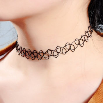 1PC Retro Simple Tattoo Choker Stretch Necklace Black Elastic Boho = 1705652036