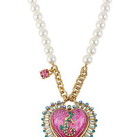 BetseyJohnson.com - SEA JEWELS HEART SEAHORSE PENDANT FUCHSIA