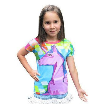Rainbows and unicorns girl t shirt