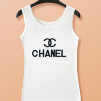 """Chanel  ""  Summer new ""easy condole belt ice silk vest."""