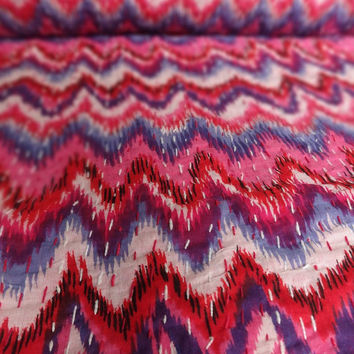 Handmade Ikat Print Kantha Quilt, Indian Cotton Bedspread, Colorful Zig-Zag Pattern, Queen Size Kantha Bedding, Reversible Printed Bed Cover
