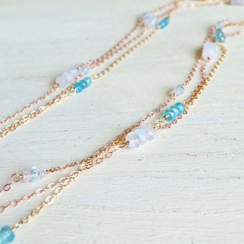 Sparkling, AAA Rainbow Moonstone Rondelles, Station Necklace in 14k Rose Gold Fill, Long Gemstone Necklace, By The Yard, Valentine's Gift