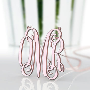 Girlfriend's gift choice--monogram customized rose gold plated 1.5 inch monogram necklace jewelry