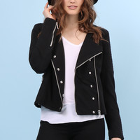La Telier Mod Moto Knit Jacket - Black