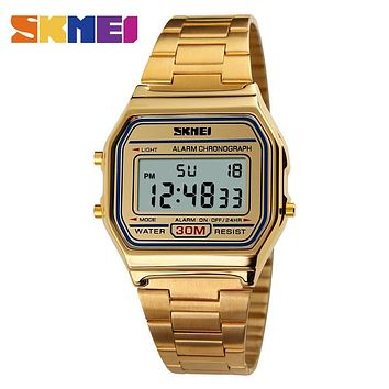 SKMEI 1123 Men LED Digital Watch Fashion Casual Sport Watches Stainless Steel Relojes Masculino Waterproof Wristwatches