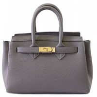 Gray Leather Tote