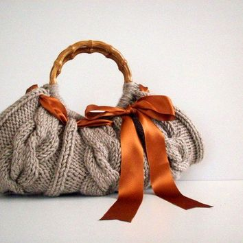 Knit Bag Knitted Handbag  Beige Bag