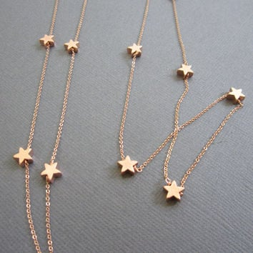 14 RoseGold Star Necklace Long necklace star necklace by Muse411