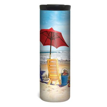 Beach Chairs Barista Tumbler Travel Mug - 17 Ounce, Spill Resistant, Stainless Steel & Vacuum Insulated