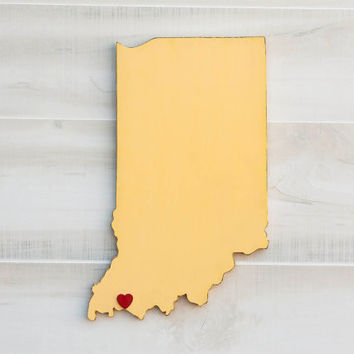 Indiana state shape sign wood cutout sign wall art with heart or star. 35 Colors. Wedding Guestbook Anniversary Country Cottage Chic Decor