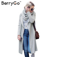 BerryGo Long scarf collar knitted sweater cardigan Women winter 2016 warm elegant outerwear Autumn casual gray jumper coat
