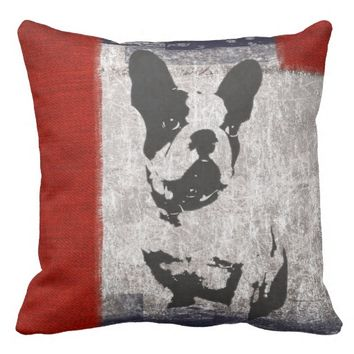 Boston Terrier in Black and White With Red Border Throw Pillows
