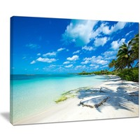 Tropical Beach with Palm Shadows Large Seashore Photographic Print on Wrapped Canvas