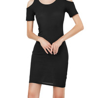 LE3NO Womens Ribbed Short Sleeve Cut Out Shoulder Bodycon Midi Dress