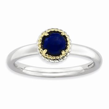 Sterling Silver & 14k Gold Stackable Expressions Lapis Polished Ring