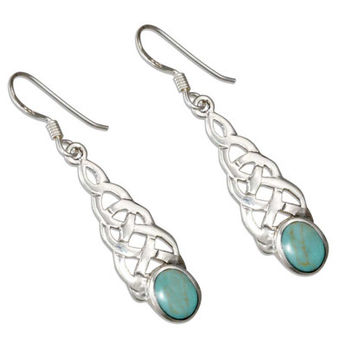 Sterling Silver Turquoise Celtic Earrings