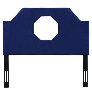 Noctis Queen Headboard in Navy Velvet