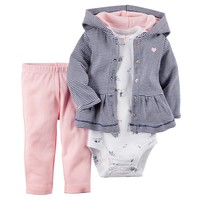 Carter's Striped Hooded Peplum Cardigan Set - Baby Girl, Size: