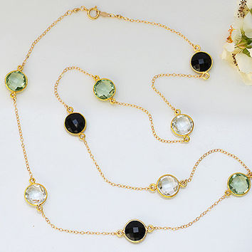 Faceted Green Amethyst  Clear Quartz and Black Onyx Gold bezel long station necklace - natural grayish black multi color gemstone Lollipop