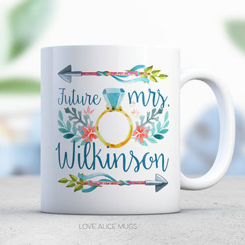 Future Mrs Mug Engagement Gift Arrow Blue Engagement Ring Bride to Be Bachelorette Gift Personalized Coffee Mug Engaged Gift