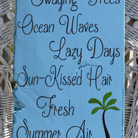 "New Beautiful Beach Decor Sign, Perfect for any Coastal, Nautical or Beach Theme Room, 20"" x 9"" Hanging, Hand Painted Sign"