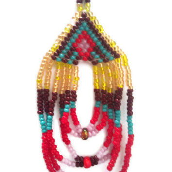 Mountain and River Mirror Turquoise, Red, Yellow, Lavender, & Maroon Beaded Native American Earrings with Fringe Float