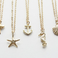 Charm Necklace- Sea Charm Necklaces-Shark tooth necklace-Starfish necklace-Anchor Necklace-Seahorse Necklace- Seashell Necklace