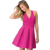 Pink V-Neck Cross Back Pleated Dress