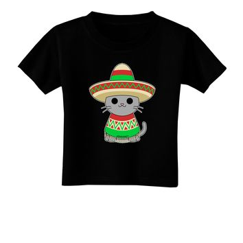 Cat with Sombrero and Poncho Toddler T-Shirt Dark by TooLoud