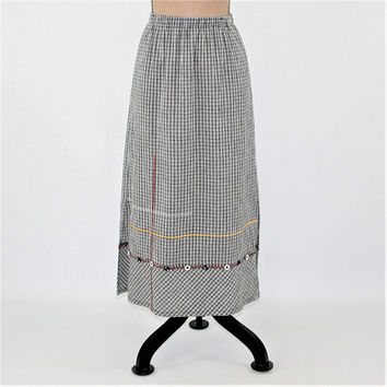 Gingham Skirt Women Medium Petite Maxi Skirt with Pockets Casual Cotton Black White Check Embroidered Koret Vintage Clothing Womens Clothing