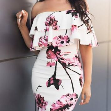 New Women White Flowers Print Cascading Ruffle Backless Off Shoulder Bodycon Party Mini Dress