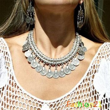 DCCKIX3 Gypsy Bohemian Beachy Chic Coin Fringe Statement Necklace Boho Festival Silver Ethnic Turkish = 1928509572