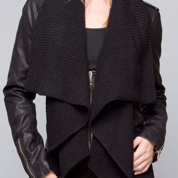 Vegan Leather Drape Collar Jacket in Black