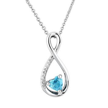 Two Hearts Forever One Genuine Blue Topaz & Diamond Accent Sterling Silver Infinity Pendant Necklace
