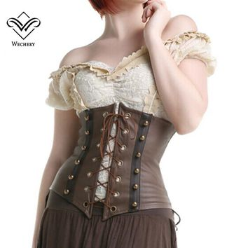Wechery Steampunk Corset Sexy Gothic Clothing Underbust Lace up Waist Trainer Corselet Belly Slimming Belt Slimer Control belt