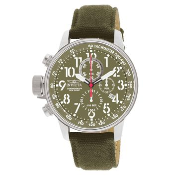 Invicta 1874 Men's I-Force Lefty Green Dial Green Fabric & Leather Chronograph Watch