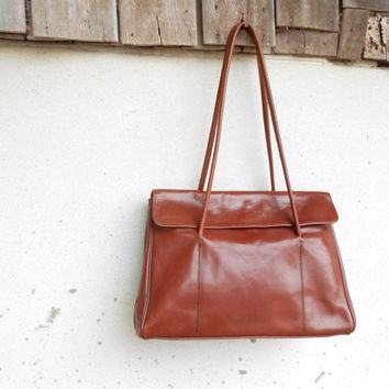 Vintage CHENIER PARIS Chesnut Brown Leather Tote Bag // Shoulder Bag // Medium