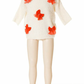 Deux Par Deux Girls Pret a Feter White Sweater with Red Bows Holiday Size 4, 5, 6, 7