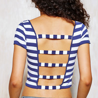 Strap Back Striped Crop Top