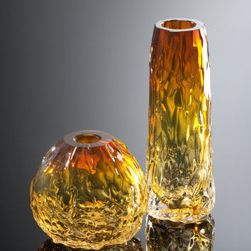 Luxury Blown Glass Vase Tall Transparent Golden by AvolieGlass