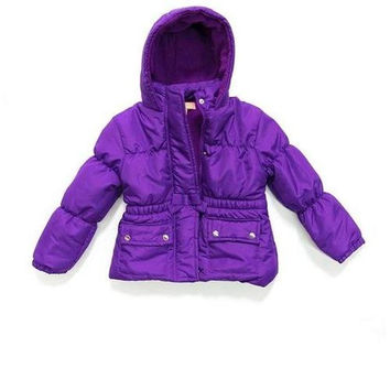 Toddler Girls Bubble Jacket with Hood & Pockets