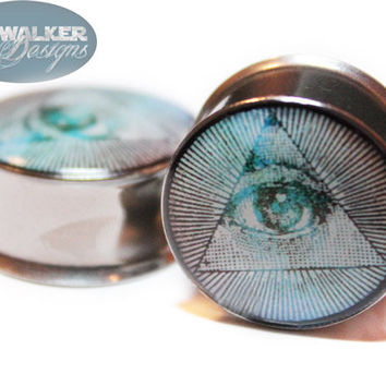 0g-9/16th All Seeing Eye Plugs