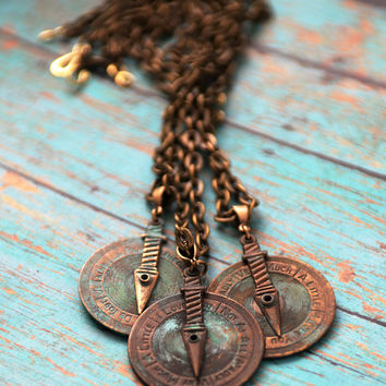 Love Meter Necklace, Steampunk Jewelry, Love Compass, Verdigris Patina, French Charms, Movable parts, Reversible Pendant, Spinner